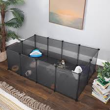 songmics kleintierkäfig freigehege mit bodenplatten laufstall kunststoff stahlgitter für kleintiere hamster hasen meerschweinchen grau lpc002g01