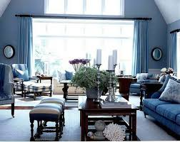 living room casual living room idea with blue sofa and rectangular