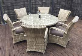 Homeflair Rattan Garden Furniture Florence Brown Round Dining Table + 6  Chairs Set £949