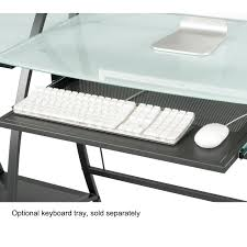 Tempered Glass Computer Desk by Tempered Glass Computer Desk W Side Shelves Ultimate Office