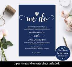 Navy Blue Wedding Invites Instant Download