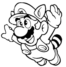 Mario Brothers Super Fyling To Th Sky Coloring Page