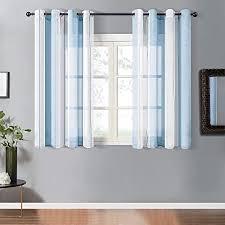 topfinel voile vorhänge mit ösen kurze gardinen mit streifenmustern dekoschals ösenschals fensterdekoration für fenster wohnzimmer schlafzimmer 2er
