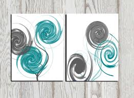 Abstract Art Print Gray Teal White Printable Home