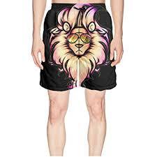 Fashion Pink Wearing Glasses Tiger Unicorn Man Beach Shorts Swimming Sweatpants