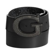 guess 35mm reversible leather logo buckle belt in black for men lyst