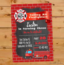 Firefighter Birthday, Firetruck Birthday Invitation, Fireman Invite ...