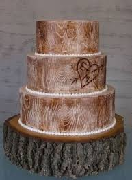 Rustic Wood Wedding Cake With Stand
