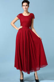 wine red short sleeve lace chiffon dress abaday com