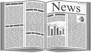 Open Newspaper With An Abstract Text And Graphs Isolated On White Background Vector Eps10 Illustration