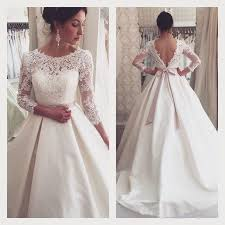 New Arrival Graceful Lace A Line Wedding Dresses 2016 Spring Jewel Neck Bridal Gowns 3 4 Long Sleeves Backless Pink Sash Online With