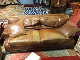 Stanford Furniture Sofa weathered leather camel AS FOUND