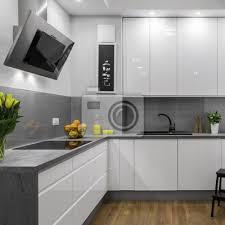 fototapete weiße und graue küche
