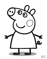 Peppa Pig With Stars Pumpkin Stencil by Peppa Pig Clipart Black And White Clipartxtras