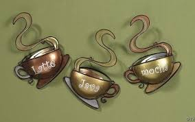 CAFE Coffee 3 SET ABSTRACT Cup HANGING Latte Java Mocha Metal Wall Kitchen Decor