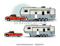 Pickup Truck With RV Trailer Side View Illustration Isolated On White Background