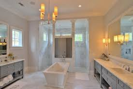 Chandelier Over Bathtub Soaking Tub by Gray Vanities Contemporary Bathroom Palmetto Cabinet Studio