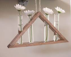 Rustic Hanging Laboratory Bud Vase Triangle By BourbonMoth Wood VaseFlowers