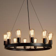 Industrial Style Black Finish Our Exclusive Round Chandelier Fills A Room With The Rustic Warmth Of 12 Edison Lights