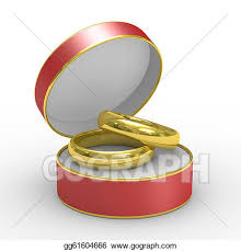 Drawing Red box with two wedding rings isolated 3d image Clipart Drawing gg