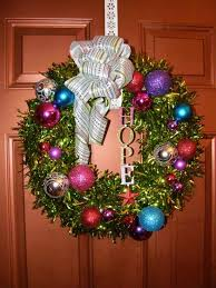 Colorful Tinsel Wreath Wreaths Floral Arrangements From How To Make A Deco Mesh Christmas Tree