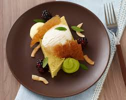 tuile cuisine california avocado cake with coconut sorbet and graham cracker tuile