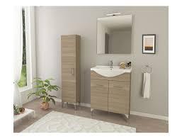 badezimmer badmöbel auf dem boden 55 cm ambra aus eiche rauch holz mit waschtisch zubehör standard abmessungen 55 cm farbe eiche rauch