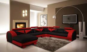 red and black living room view in gallery black takes a backseat