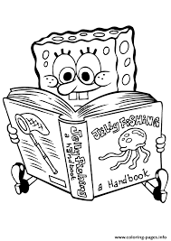 Spongebob Reading Book Coloring Page8e21 Pages Print Download 540 Prints