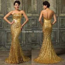 high quality h4409 gk gold sequins strapless mermaid elegant