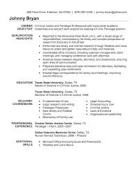 Criminal Justice Resume Objective Internship Examples