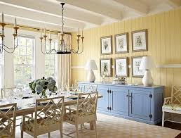 View In Gallery Beach Style Dining Room Yellow With A Pop Of Blue Design Tom Stringer