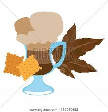 Iced Coffee In The Cup With Crackers Color Illustration