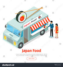 Japan Food Truck Isometric Projection Style Stock Vector (Royalty ...