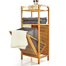 bambuswald wäschekorb ökologischer wäschesammler mit zwei ablagefächern aus bambus herausnehmbare faltbox aus stoff regal für bad schlafzimmer