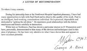 Best solutions Re mendation Letter for Pharmacy Job Also
