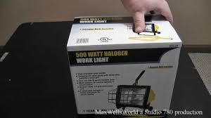 unboxing and review of a 500 watt halogen work light maxwellsworld