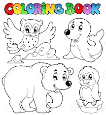 Beautiful Decoration Coloring Book Animals Happy Winter Vector Illustration Royalty