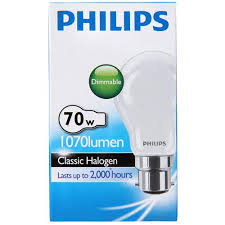 buy philips eco classic bayonet light bulb 70w frosted halogen 1pk