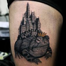 Prince Frog With Castle Mens Thigh Tattoos