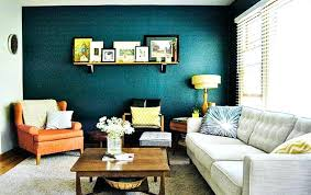 Teal Walls Living Room Accent Wall In With Oranges And Yellows Grays