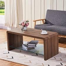 goldfan couchtisch holz kaffetisch glas moderner tv tisch für wohnzimmer schlafzimmer braun