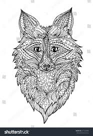 Zentangle Fox For Coloring Pagetattoo T Shirt Design Effect Adult Book