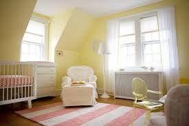 Yellow And White Curtains For Nursery by Pastel Yellow Wall Color For Nursery Room Ideas With Striped Area
