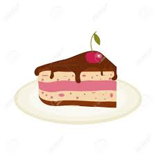 Piece of chocolate cake with cream and cherry birthday tasty bake illustration chocolate piece cake