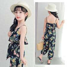 2017 Summer Bohemian Style Kids Girls Overalls Sleeveless Shoulder Straps Rompers Floral Loose Jumpsuit For Child