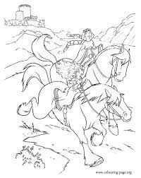 Merida And Elinor Ride Out On Their Horses Coloring Page