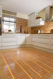 heated floors in bathroom with light wood kitchens modern white