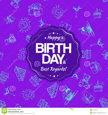 Download Purple Birthday Seamless Pattern With Hand Drawing Elements Stock Illustration