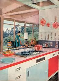 Vintage MCM Kitchen Love All The Accessories Colors And Classic Living Room 1950s